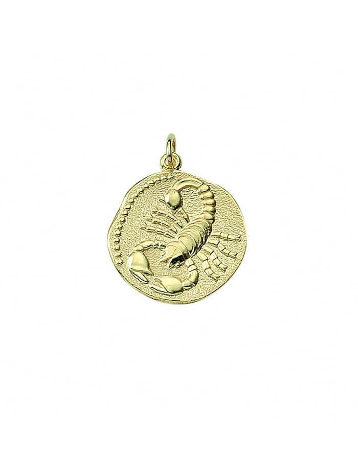 1001 Diamonds Damen & Herren Goldschmuck 333 Gold Sternzeichen Anhänger Skorpion Ø 18,2 mm, gold