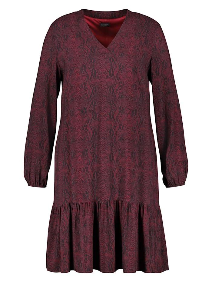 Samoon Kleid mit Snake-Print, Red Wine gemustert
