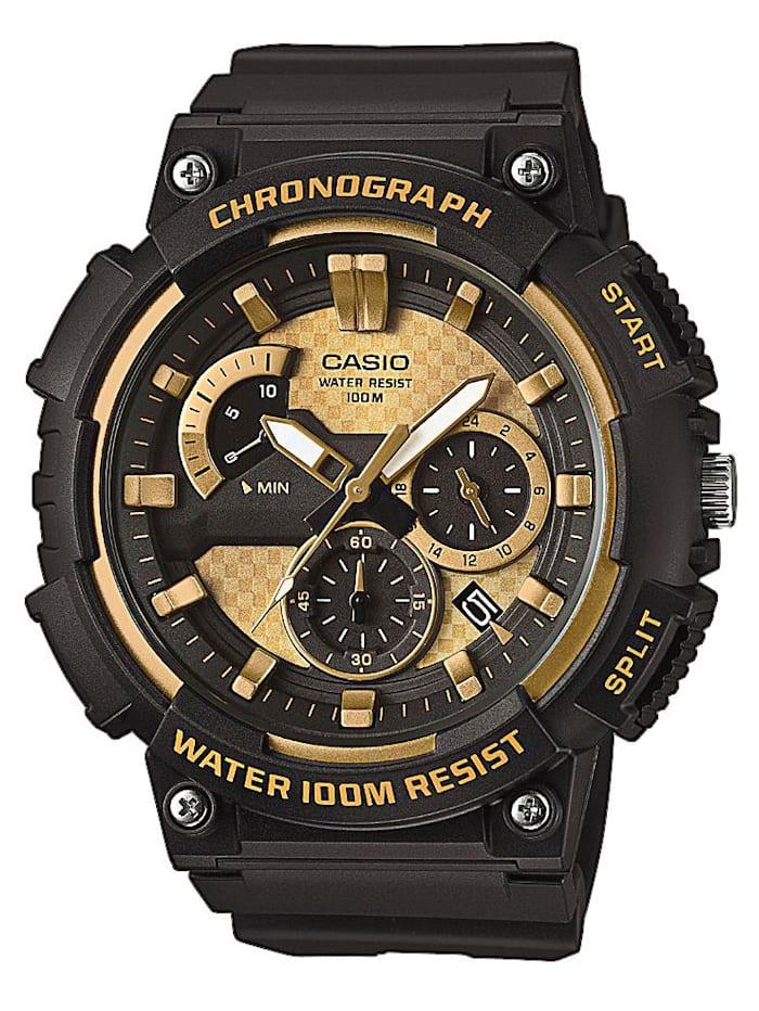 Casio Herrenuhr -Chronograph schwarz/gold MCW-200H-9AVEF, Schwarz/Gelbgoldfarben