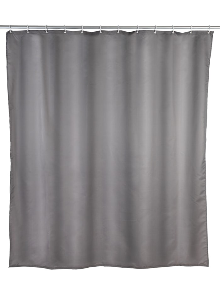 Wenko Duschvorhang Uni Grau, Textil (Polyester), 240 x 180 cm, waschbar, Grau
