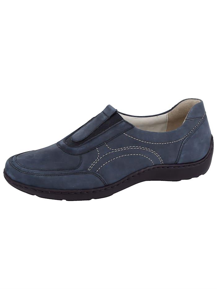 Waldläufer Slip-on shoes with decorative stitching, Blue