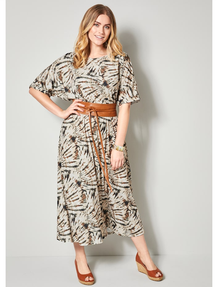 Sara Lindholm Maxi-jurk met grafische batikprint, Beige/Kaki