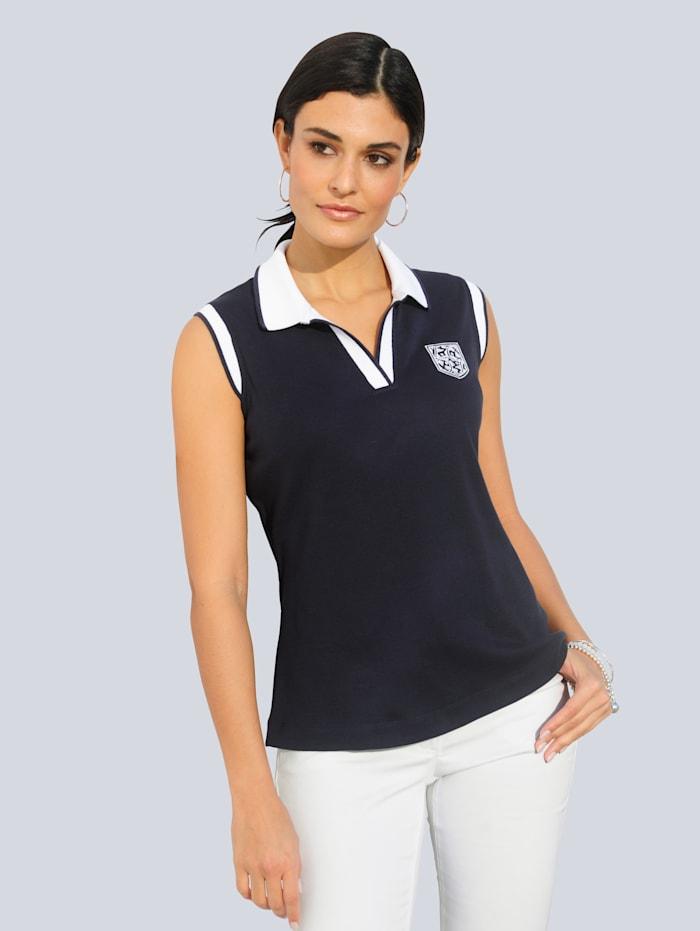 Alba Moda Jerseytop mit Wappenstickerei im Brustbereich, Marineblau/Weiß