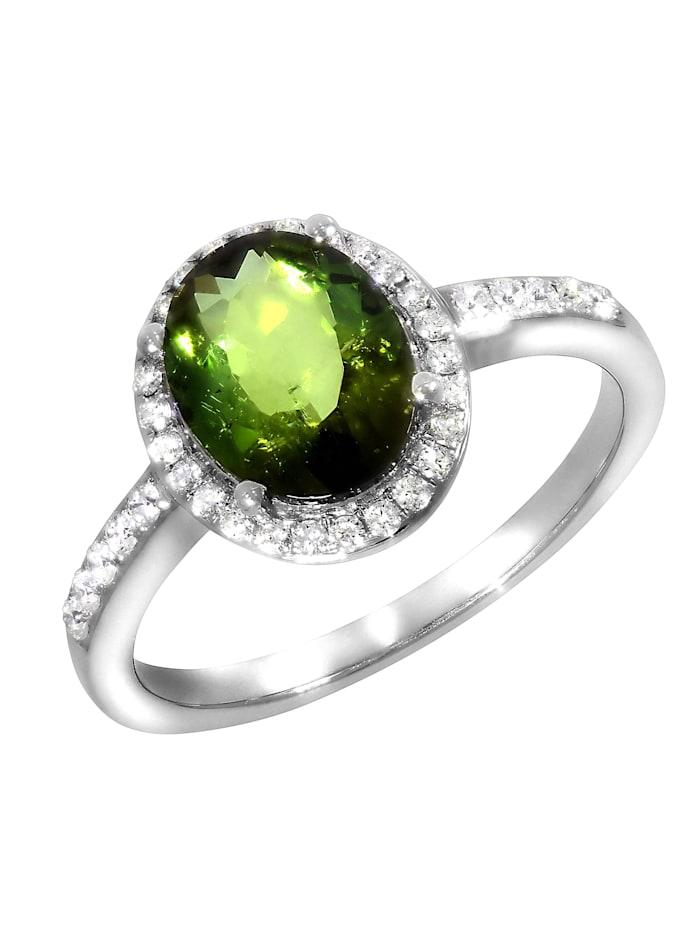 Creazione Bijoux Ring 750/- Gold Turmalin grün Turmalin Glänzend 2,07ct. 750/- Gold, weiß