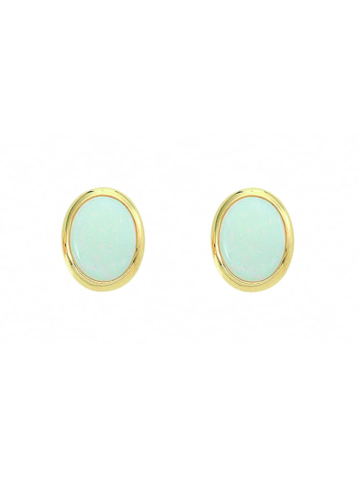 1001 Diamonds Damen Goldschmuck 585 Gold Ohrringe / Ohrstecker mit Opal, blau