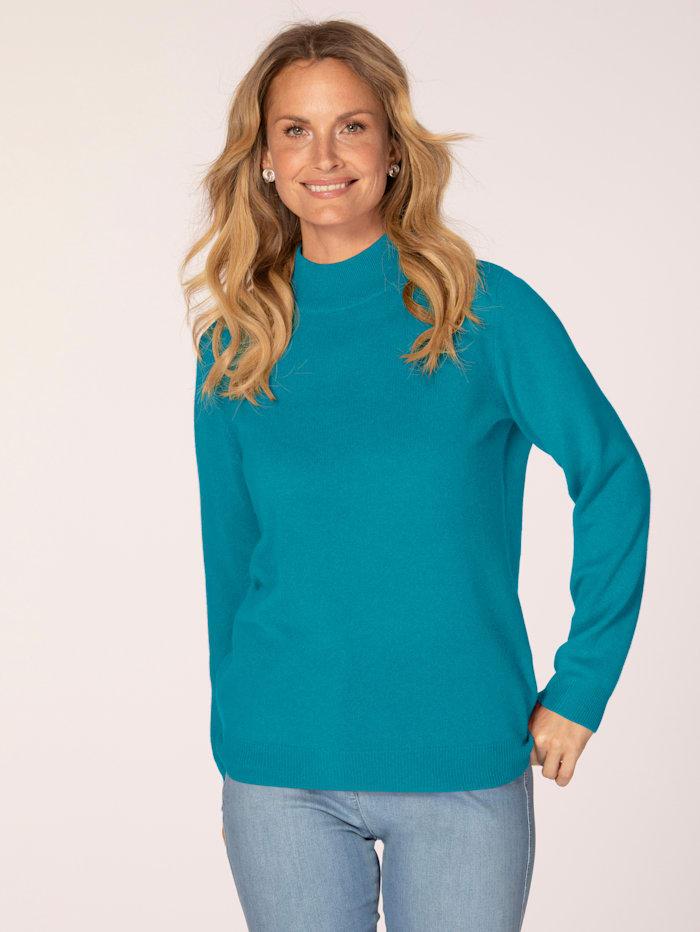 MONA Kaschmir-Pullover mit Stehkragen, Türkis