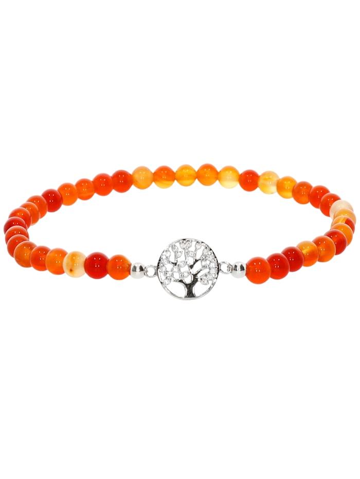 1001 Diamonds Baum des Lebens Karneol Armband 925 Silber 17 cm, orange