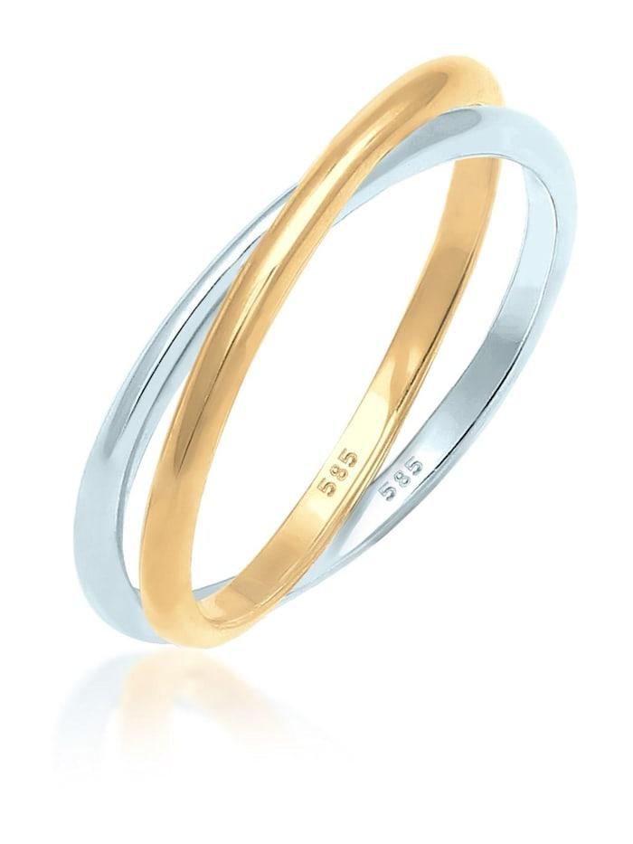 Elli Premium Ring Wickelring Bi-Color Zeitlos 585 Gelbgold Weißgold, Gold