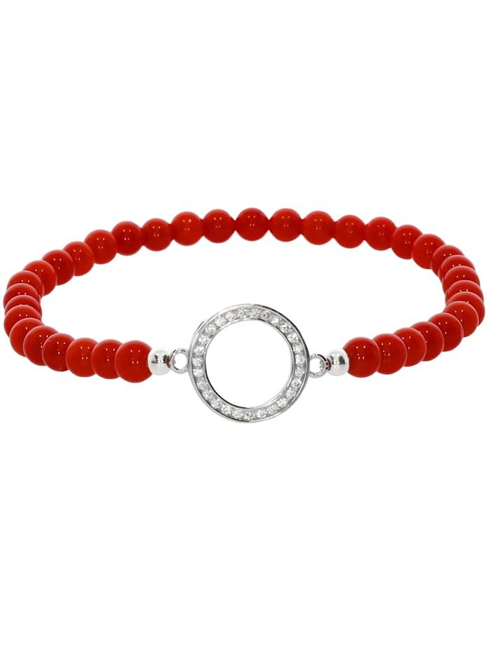 1001 Diamonds Koralle Armband 925 Silber 17 cm, rot