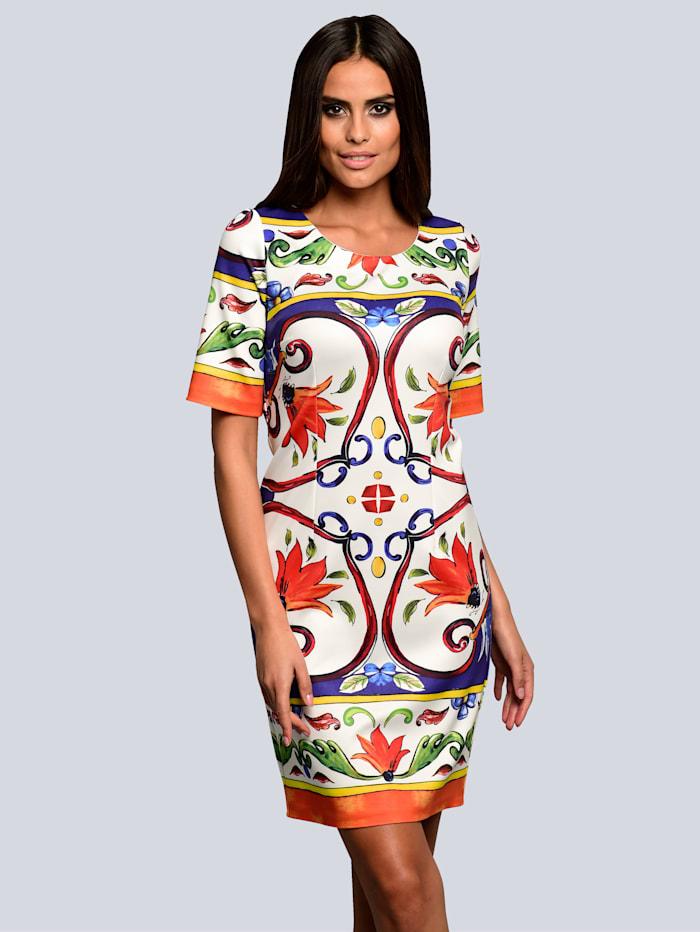Alba Moda Kleid mit ausdrucksstarkem Print, Weiß/Orange