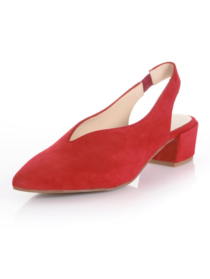Alba Moda Slingpumps aus Ziegenveloursleder, Rot