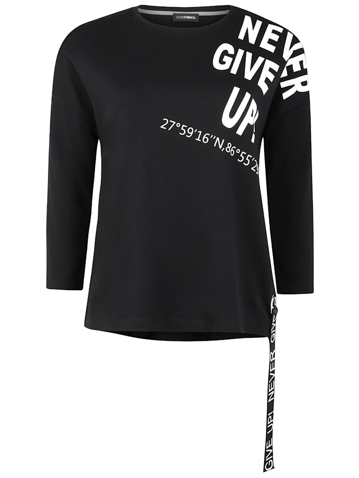 Doris Streich Shirt mit Schriftzug Bänder, schwarz/weiß