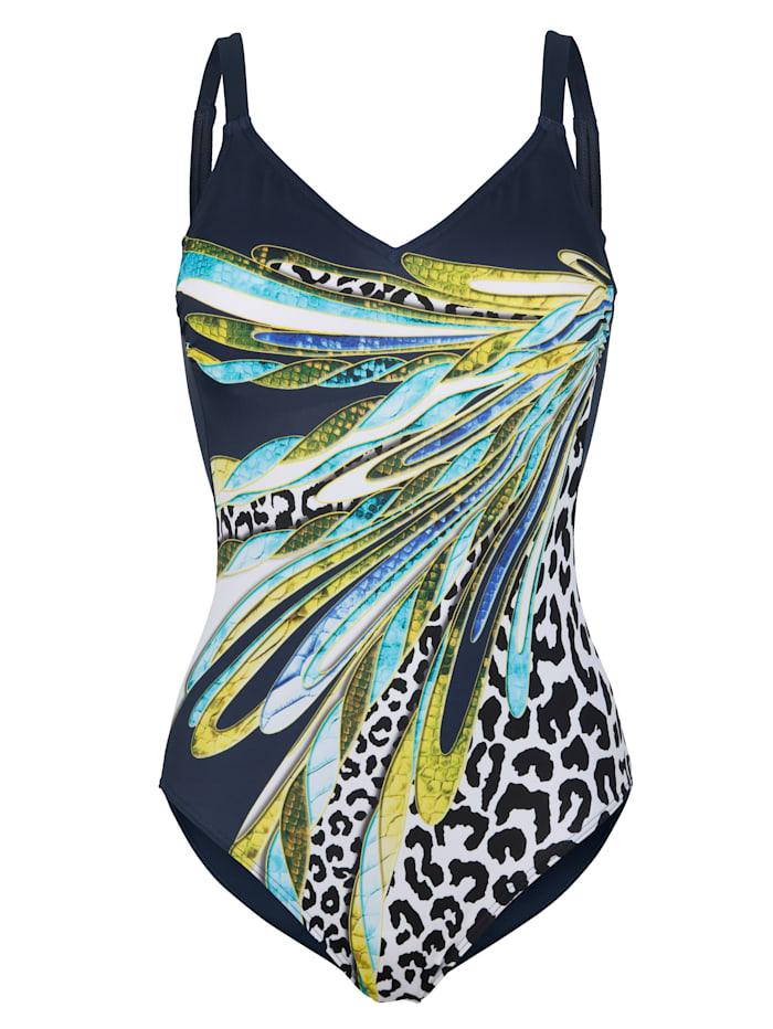 Sunmarin Plavky s módnym mixom vzorov, Námornícka/Zelená/Žltá