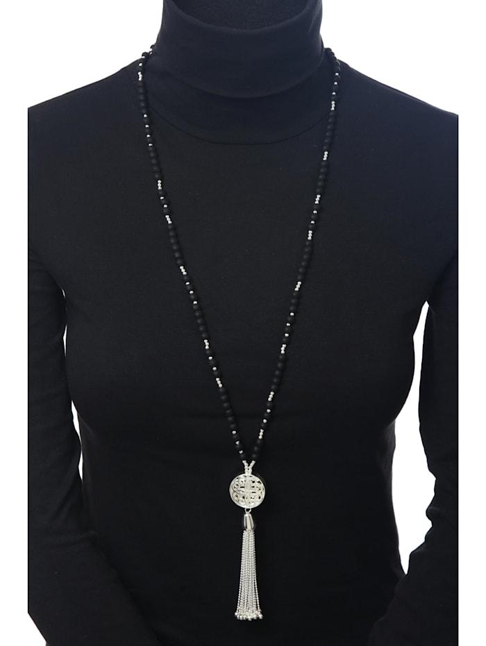 Lange Kette Kate mit schwarz mattierten Perlen