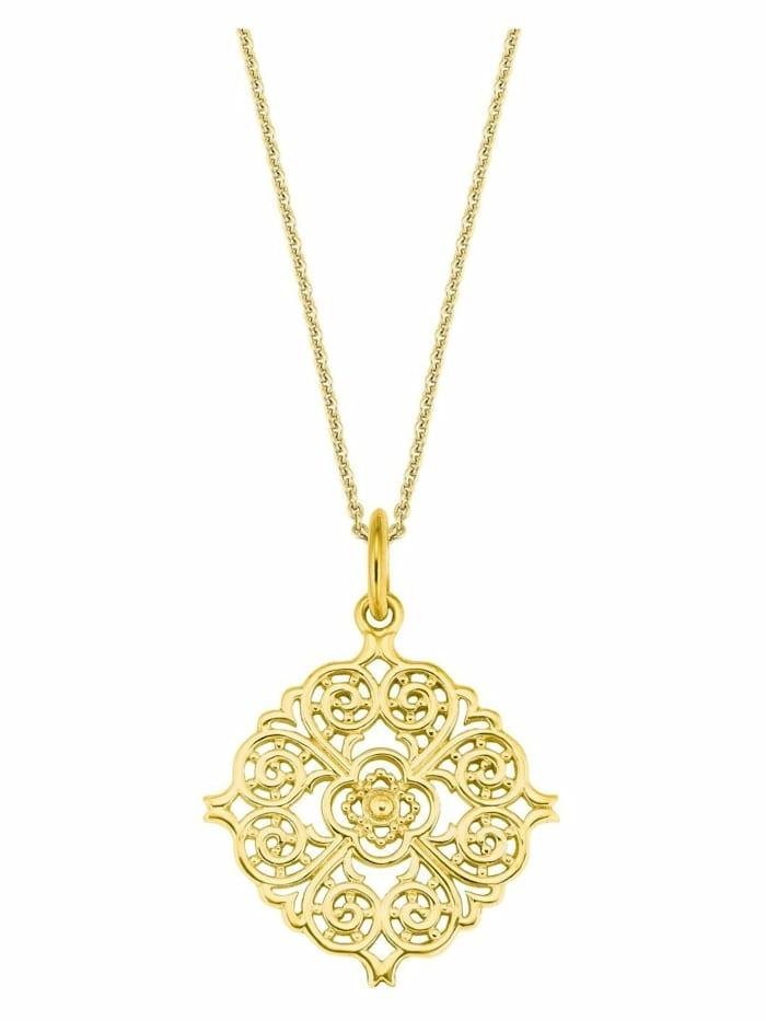 amor Kette mit Anhänger für Damen, Sterling Silber 925, Ornament, Gold