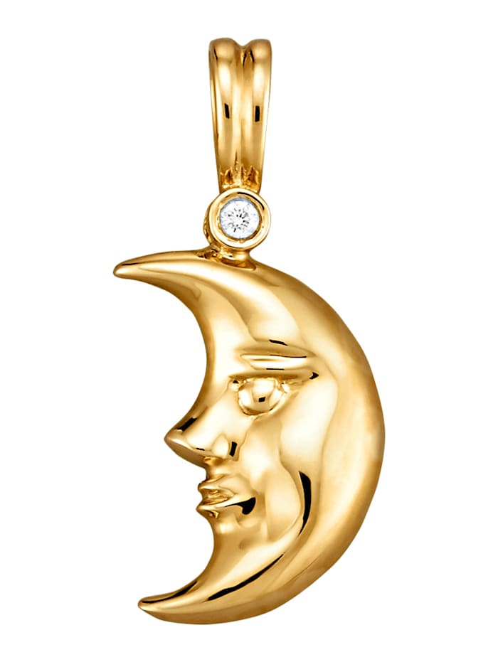 Diemer Diamant Mond-Anhänger mit 1 Diamant, Gelbgoldfarben