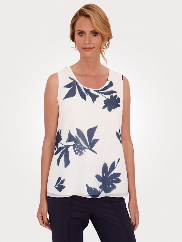 MONA Top mit floralem Muster, Ecru/Marineblau
