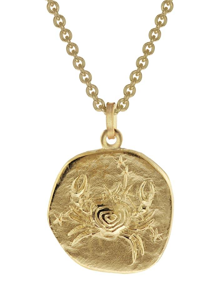 trendor Krebs Sternzeichen Anhänger Herren-Halskette Gold auf Silber, Goldfarben