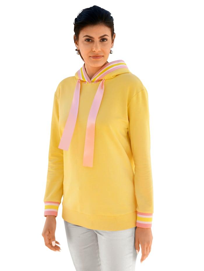 AMY VERMONT Sweatshirt mit Satin-Bändern, Gelb