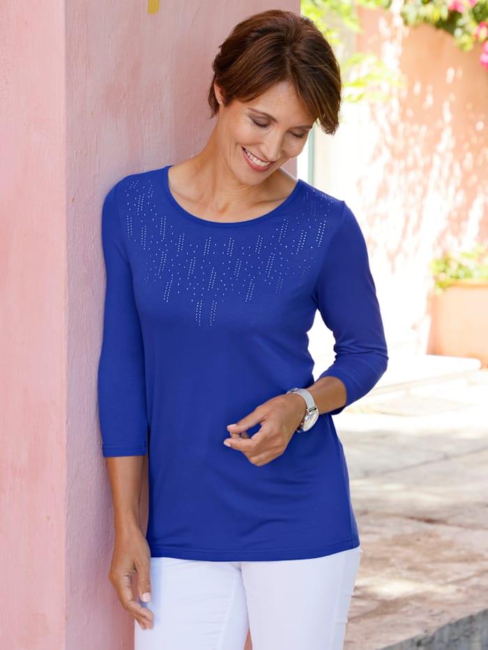 Paola T-shirt avec pierres fantaisie côtés, Bleu nuit