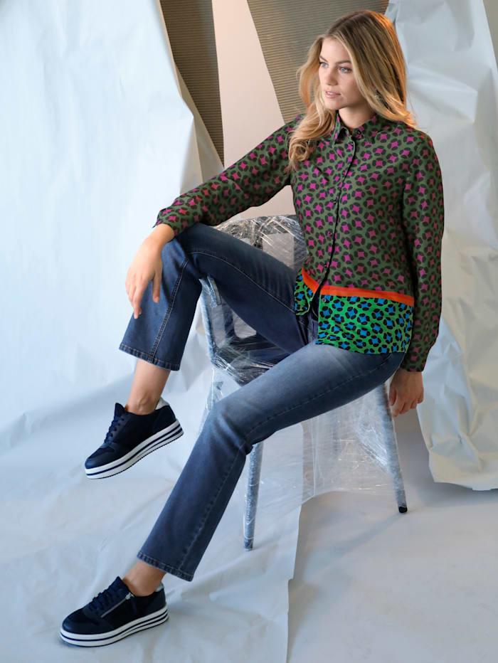 AMY VERMONT Bluse mit grafischem Muster, Grün/Lila/Rot/Orange/Blau