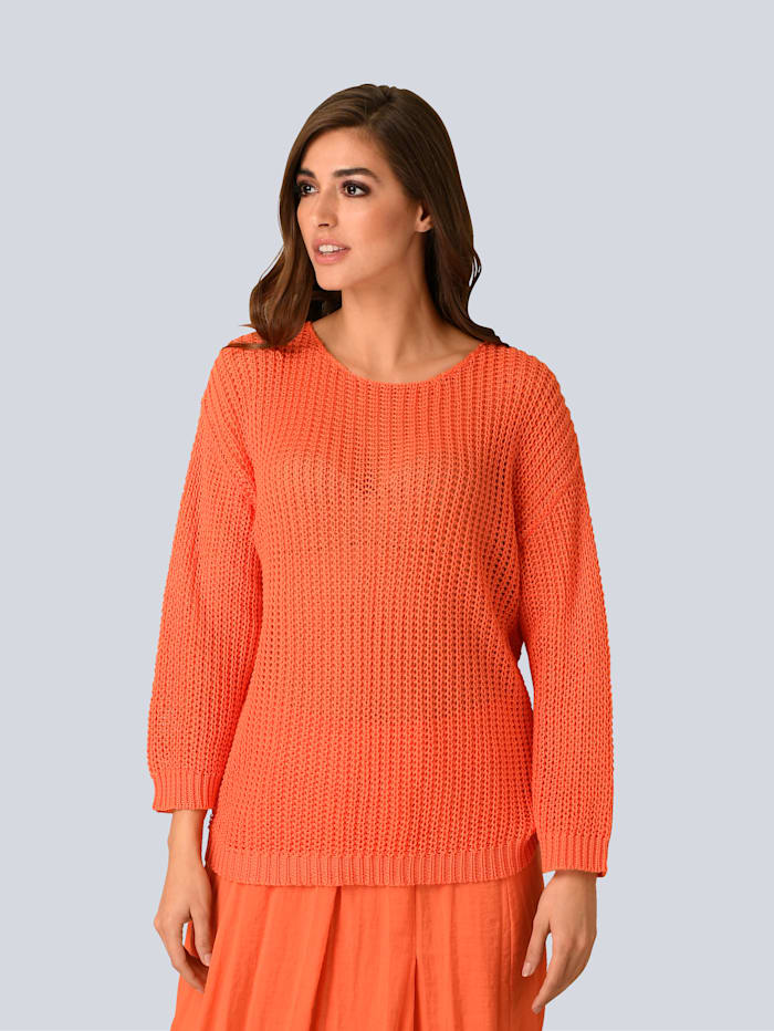 Alba Moda Pullover in lockerem Grobstrick, Orange