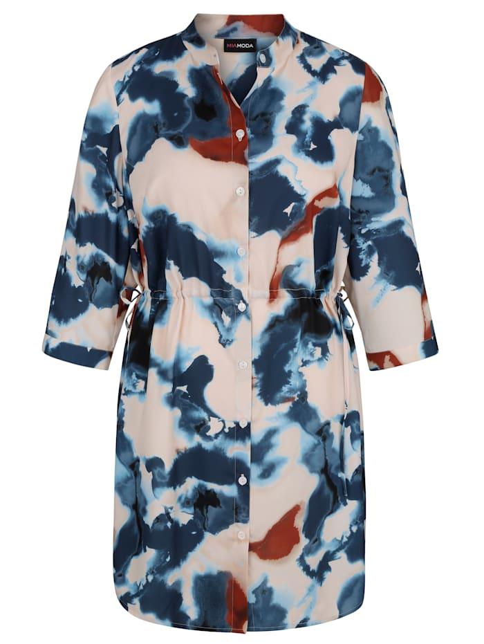 MIAMODA Lang bluse med trykt mønster, Hvit