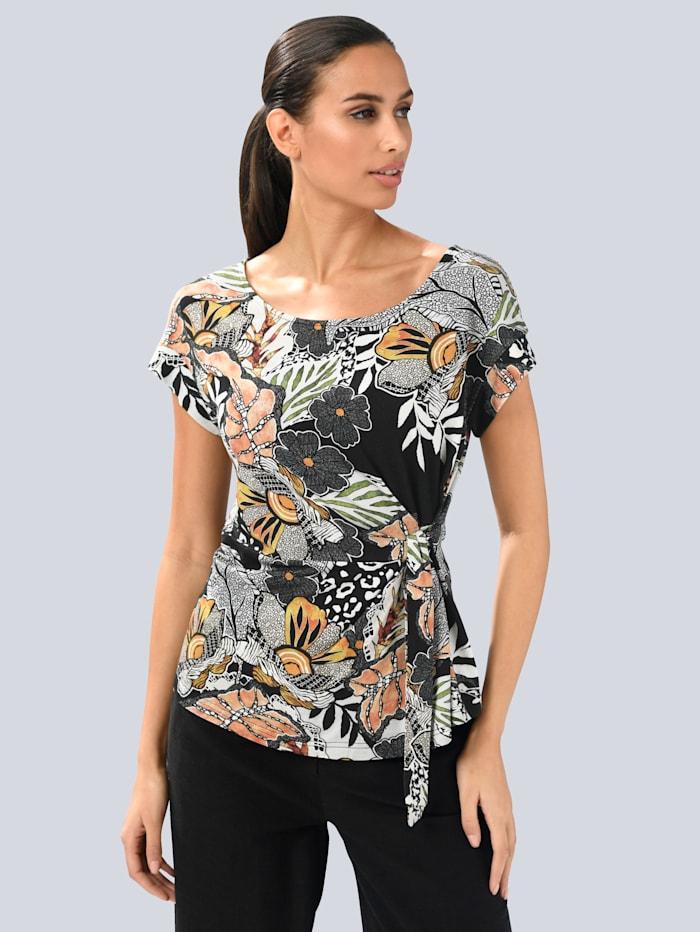 Alba Moda Shirt met knoopdetail, Zwart/Offwhite/Oranje