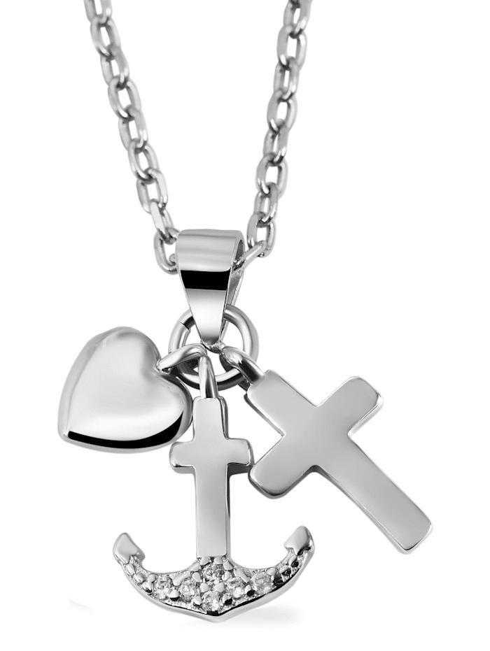 Damen Anhänger Glaube Liebe Hoffnung aus 925 Silber mit Zirkonia
