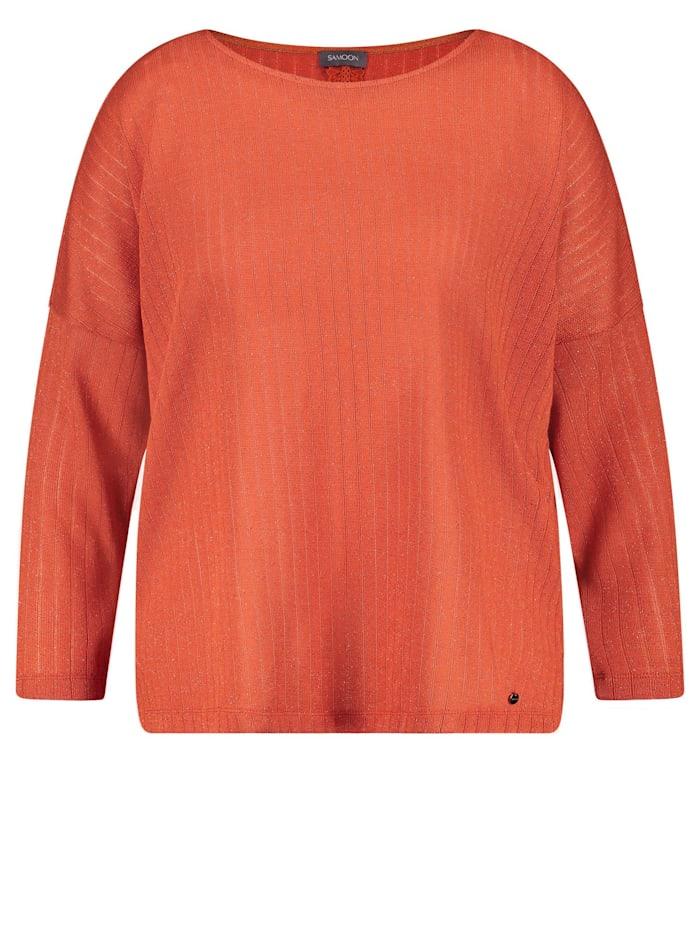 Samoon Langarmshirt mit Glitzer-Effekt, Burnt Ginger