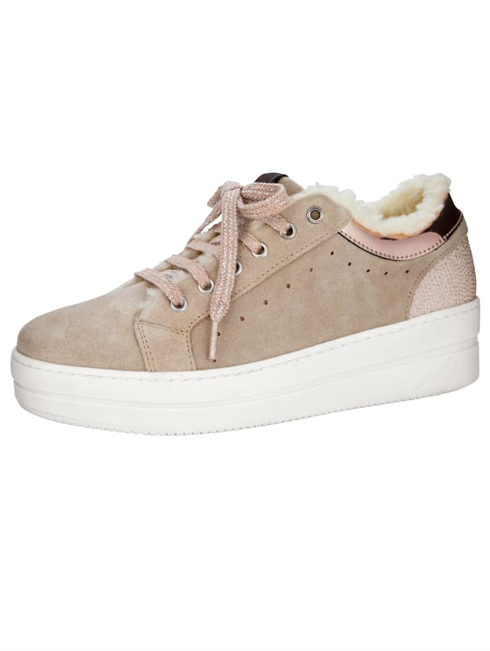 Platform trainers with cosy faux fur detailing