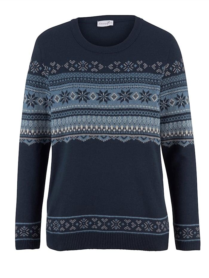 Dress In Pullover mit Norwegermsuter, Marineblau/Natur