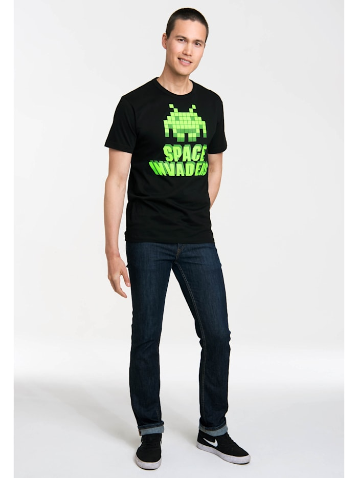 T-Shirt Space Invaders mit auffälligem Print