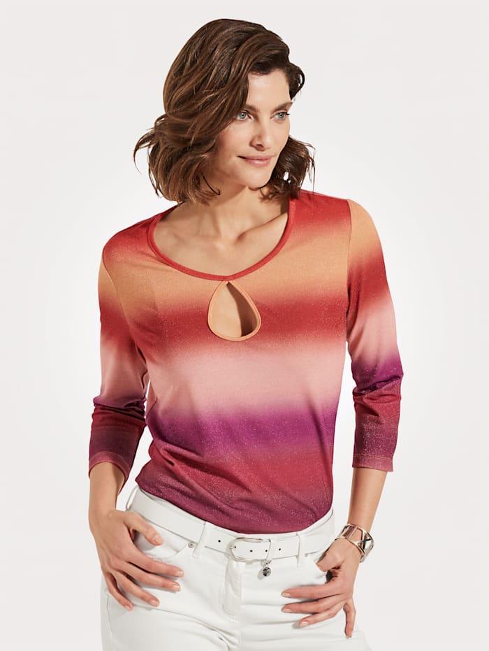MONA Shirt mit effektvollem Farbverlauf, Orange/Pink/Beere