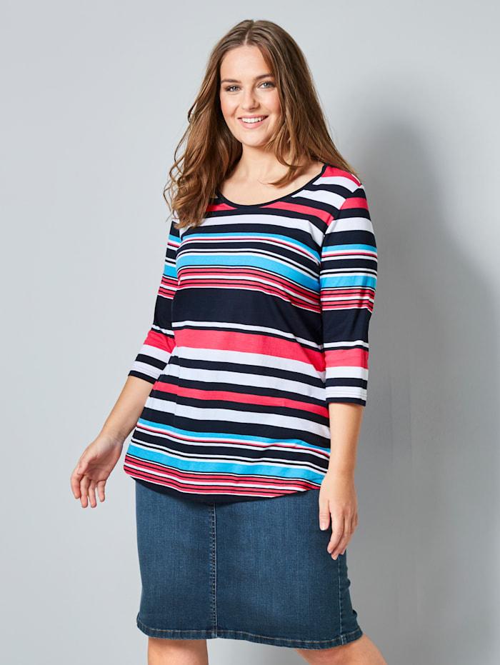 Janet & Joyce Shirt mit Streifenmuster, Blau/Weiß/Rot