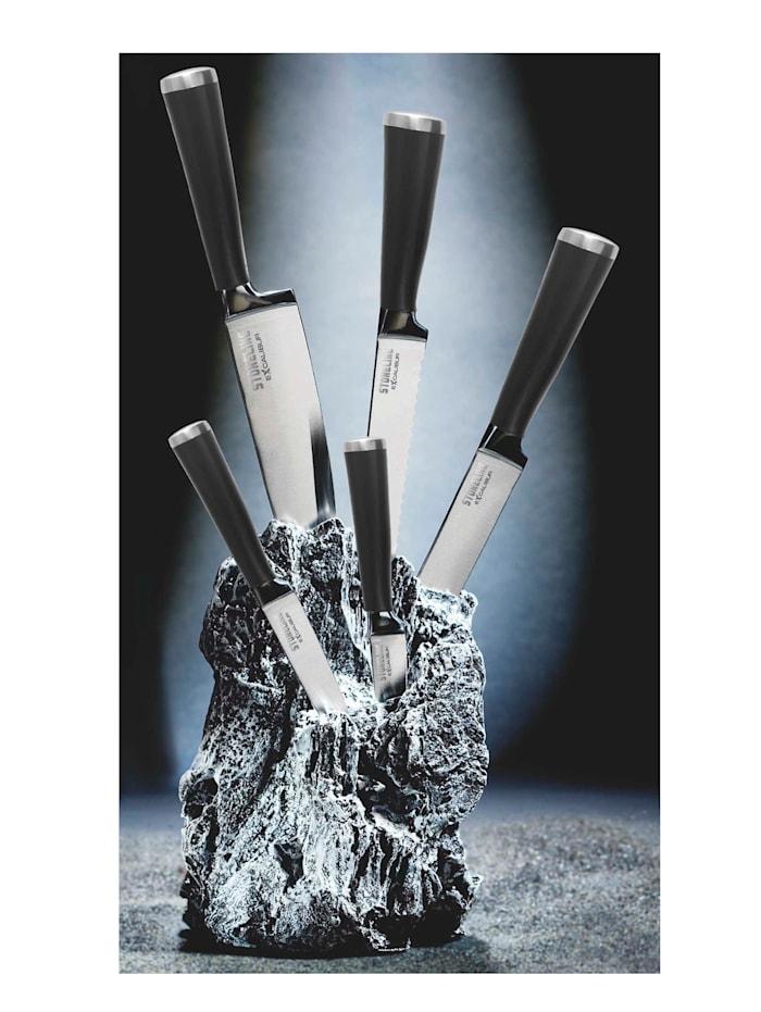 Stoneline Knivblokk med knivsett i 7 deler, Svart