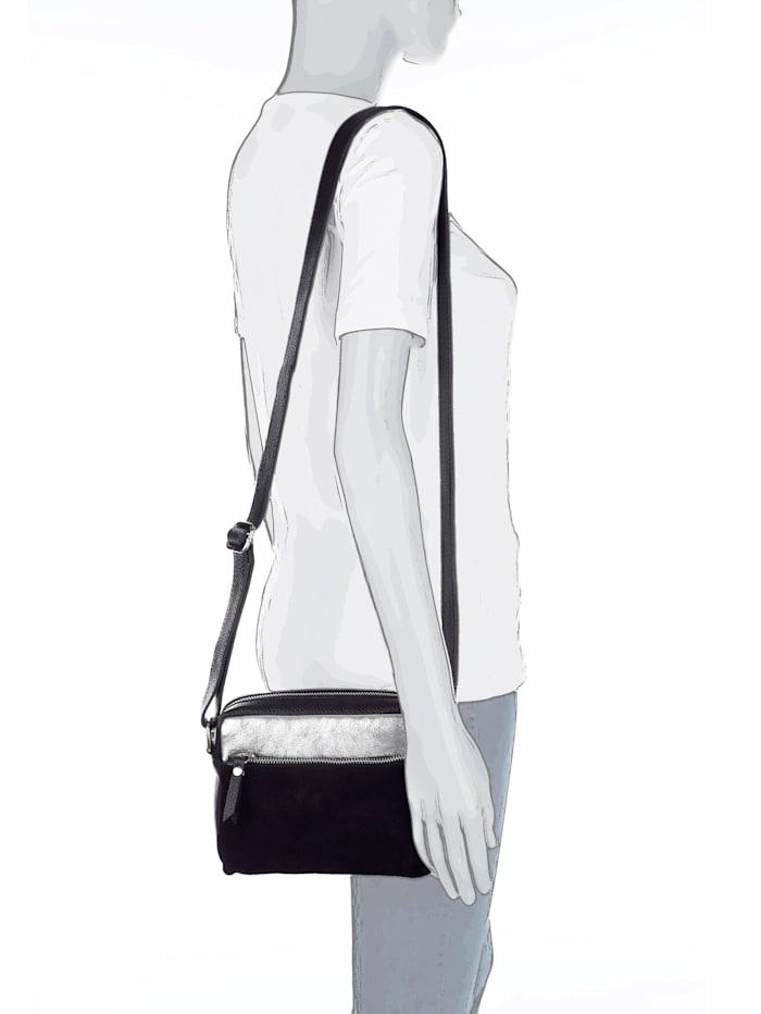 MONA Umhängetasche aus hochwertigem Leder, schwarz/silberfarb