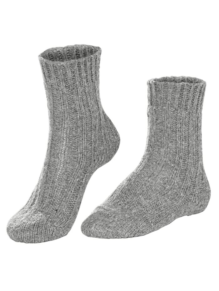 GHZ Wollsocken mit Alpaka, schwarz grau