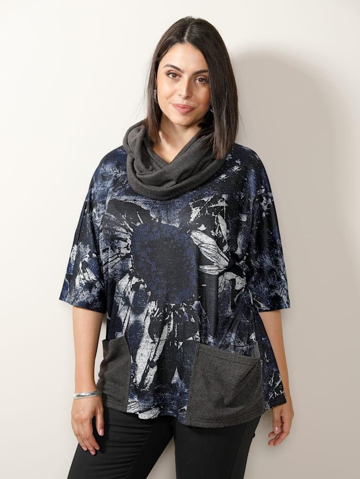 MIAMODA Set: Shirt&Schal mit praktischen Taschen, Jeansblau