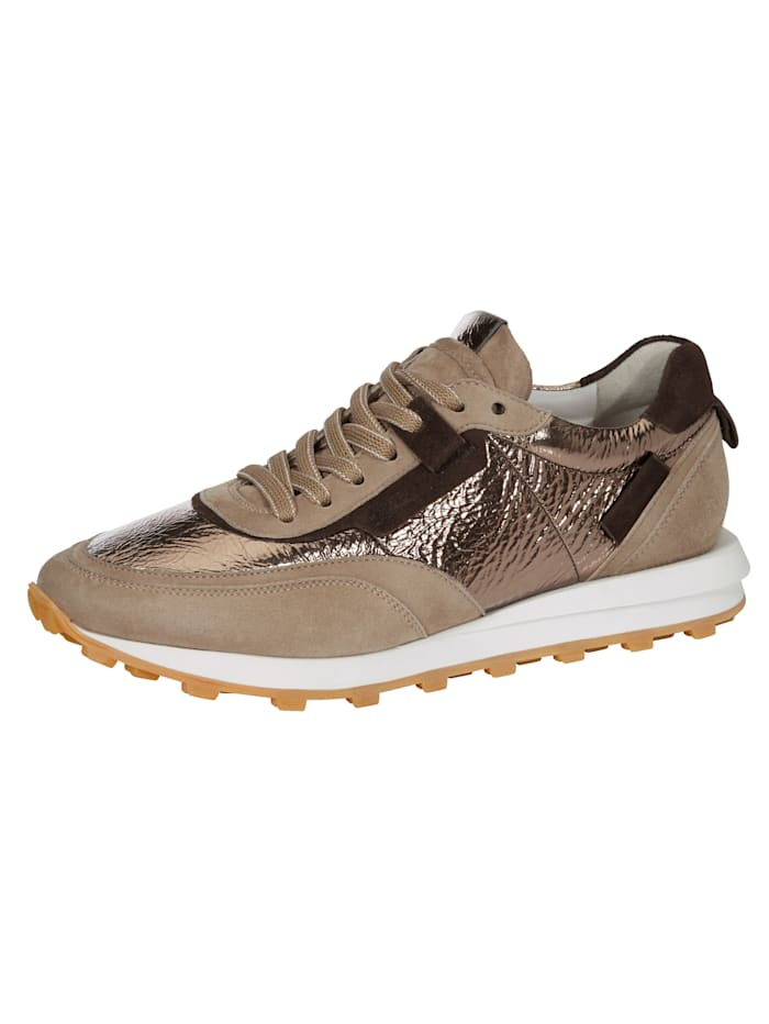 Kennel & Schmenger Sneaker in attraktivem Ledermix, Bronzefarben