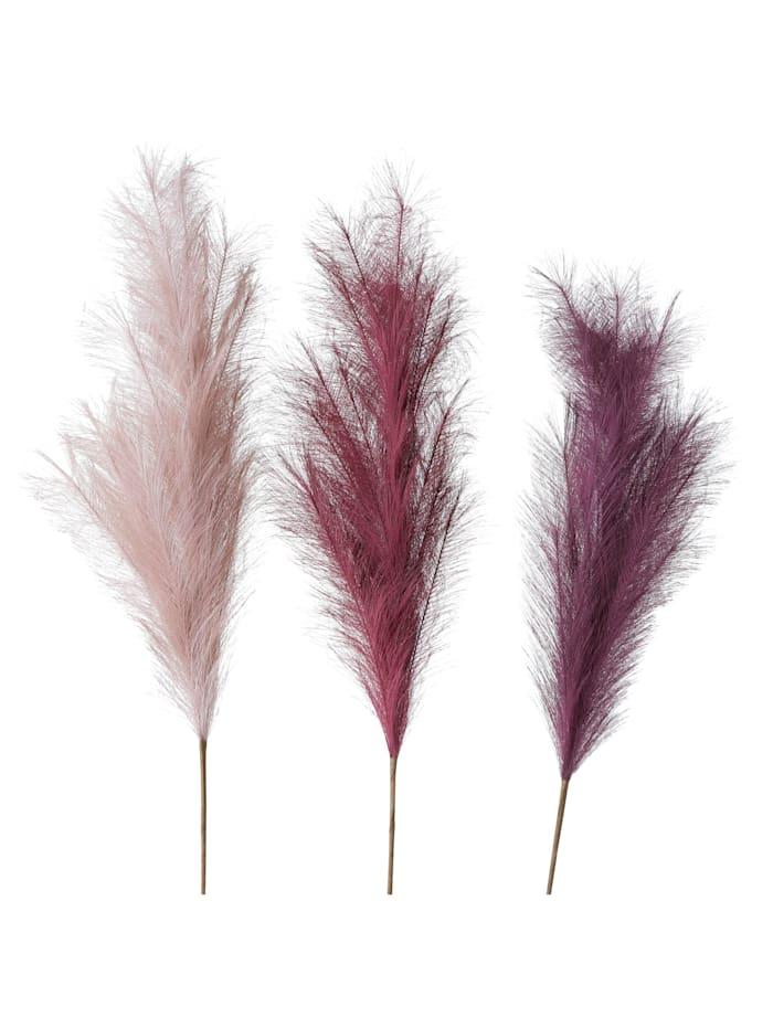 Boltze Deko-Gras-Set, 3-tlg., Rosé/Rot/Lila