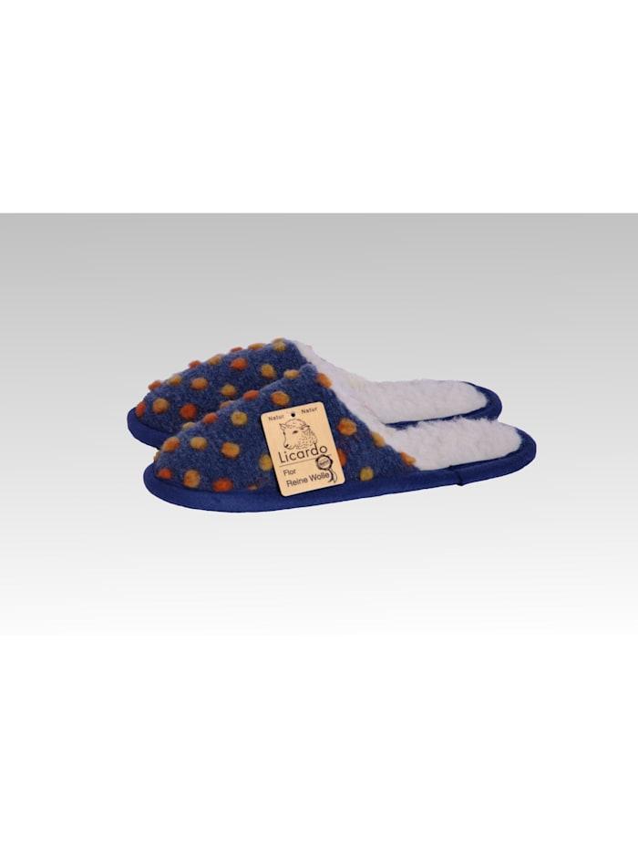 Linke Licardo Pantoffeln Hausschuhe Wolle Noppen blau, blau