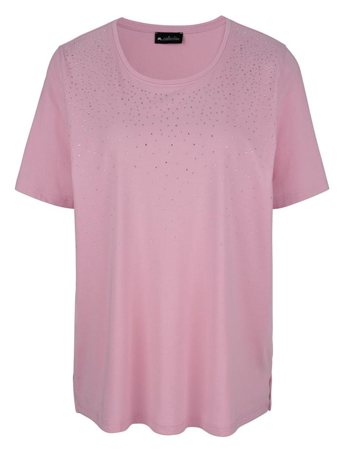 m. collection Shirt mit Dekosteinen am Ausschnitt, Rosé