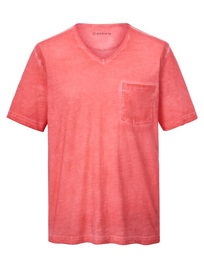 BABISTA T-shirt med oregelbundenheter i färgningen, Korall