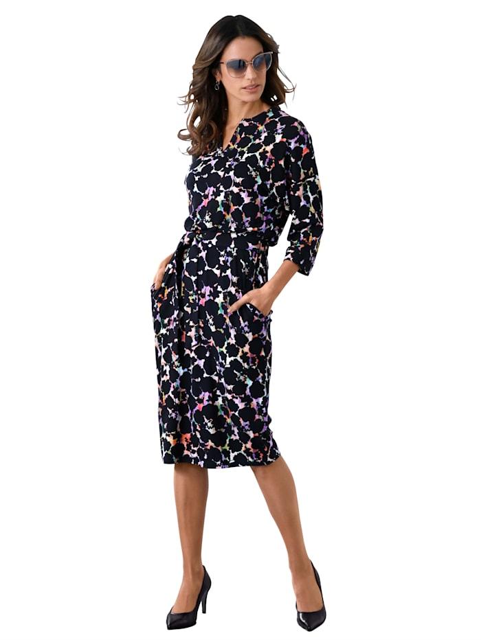 AMY VERMONT Jersey jurk met print rondom, Zwart