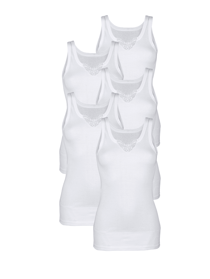 Harmony Achselhemd mit Stickereimotiv am Ausschnitt, Weiß