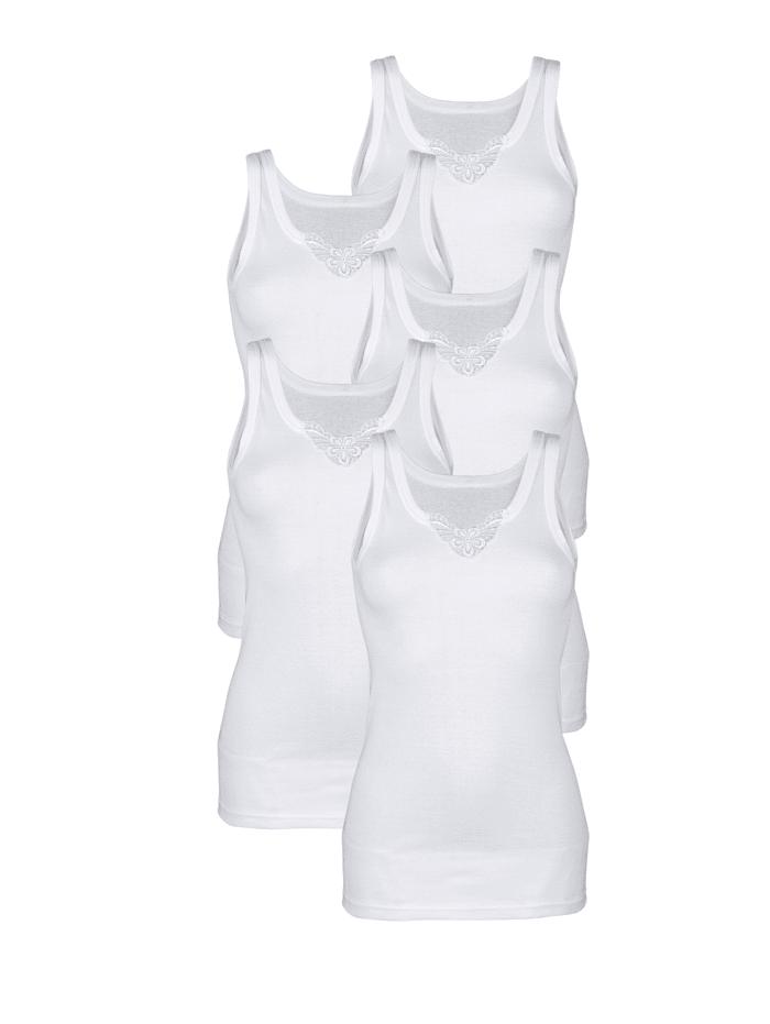 Harmony Hemdjes met kantmotief aan de hals, Wit