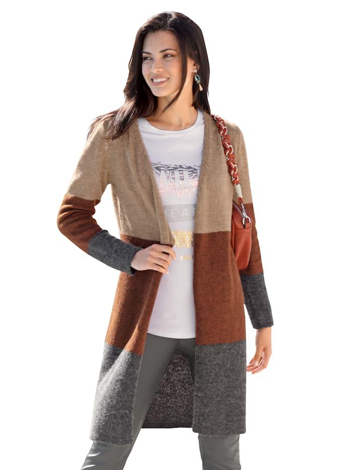 AMY VERMONT Vest met blokstrepen, Beige/Roest/Grijs
