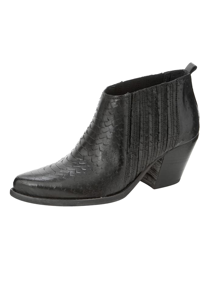 ROCKGEWITTER Ankle Boot in trendstarker Western-Optik, Schwarz