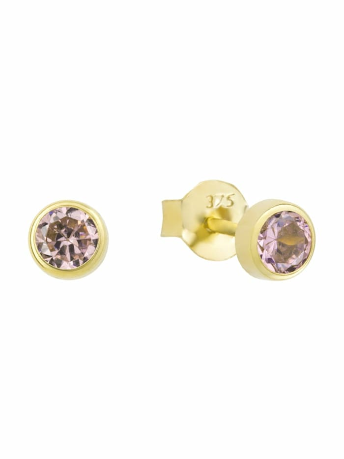 amor Ohrstecker für Damen, Gold 375, Zirkonia, Pink